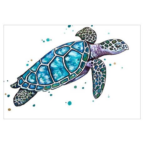 Gentil Funny Sea Turtle Wall Art