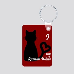 Russian White Cat Heart Keychain Keychains