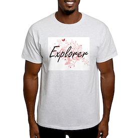 Explorer Artistic Job Design with Butterfl T-Shirt