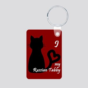 Russian Tabby Cat Heart Keychain Keychains