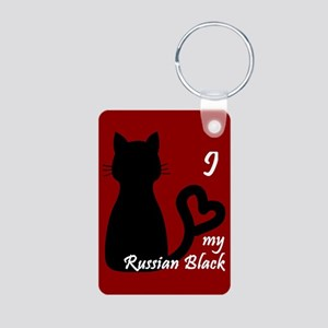 Russian Black Cat Heart Keychain Keychains