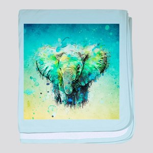 watercolor elephant baby blanket