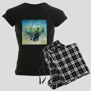 watercolor elephant Women's Dark Pajamas