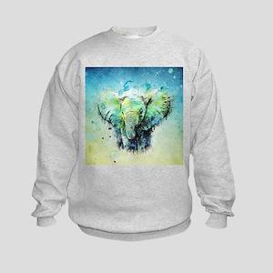 watercolor elephant Kids Sweatshirt
