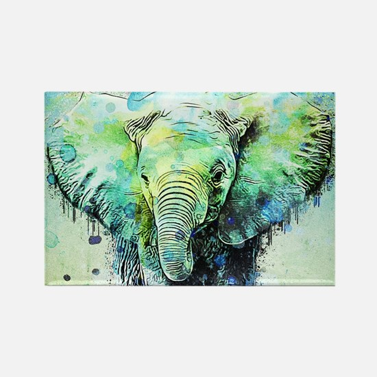 watercolor elephant Magnets
