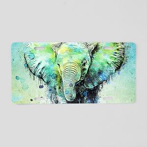 watercolor elephant Aluminum License Plate
