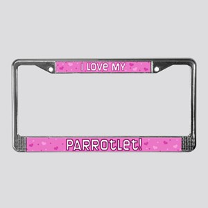 Pink Polka Dot Parrotlet License Plate Frame