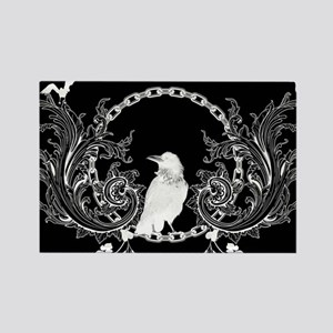 Awesome crow and flowers Magnets
