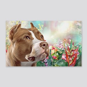 Pit Bull Painting Area Rug