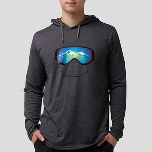 Happy Skier Mens Hooded Shirt Long Sleeve T-Shirt