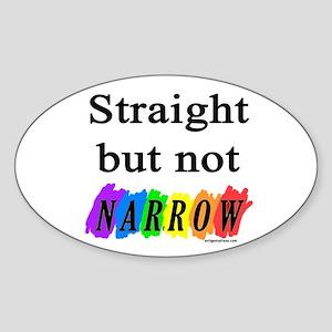 Straight but not narrow rainb Oval Sticker