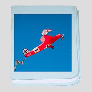 Red Baron biplane kite baby blanket