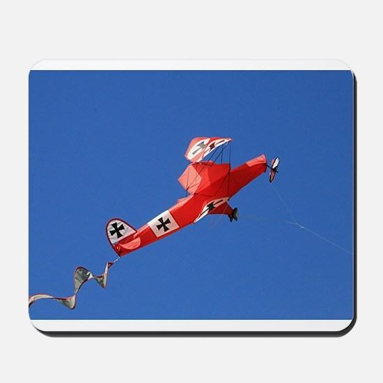 Red Baron biplane kite Mousepad
