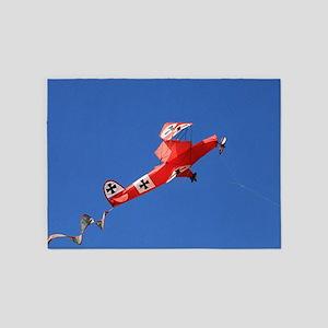 Red Baron biplane kite 5'x7'Area Rug