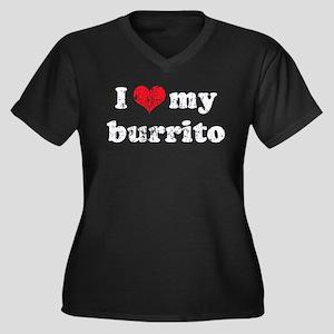 I love my Burrito Women's Plus Size V-Neck Dark T-