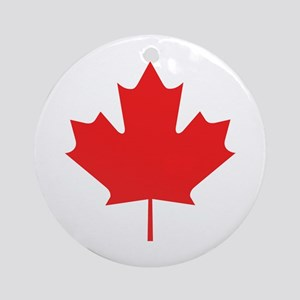 Red Maple Leaf Ornament (Round)