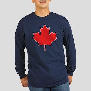 Red Maple Leaf Long Sleeve Dark T-Shirt