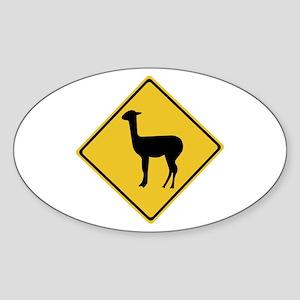 Attention Llamas, Argentina Oval Sticker