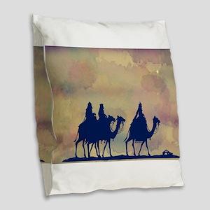 3 Wise Men Burlap Throw Pillow