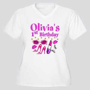 PERSONALIZED 1ST Women's Plus Size V-Neck T-Shirt