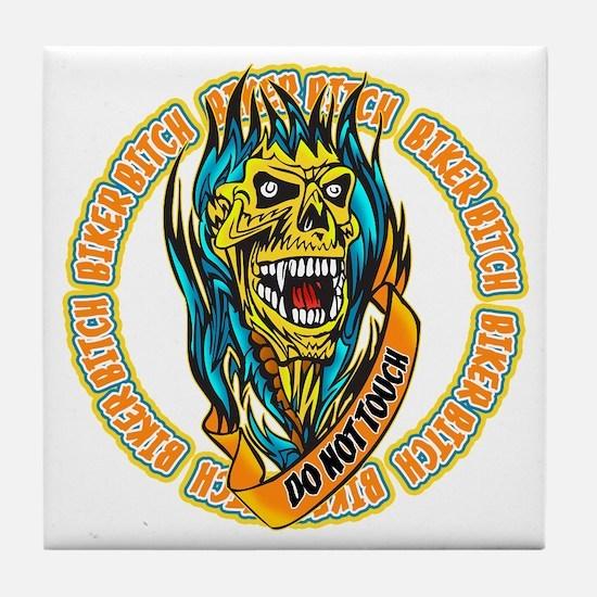 Biker Bitch Fiery Skull Tile Coaster