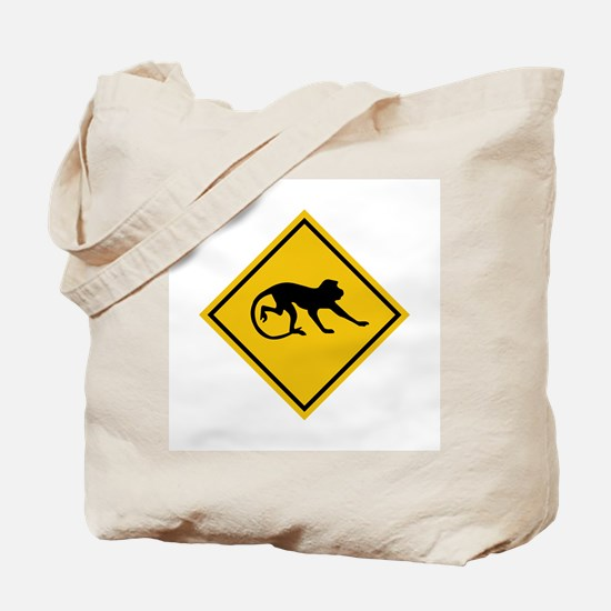 Warning Long-tailed Macaques, Malaysia Tote Bag