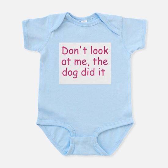 dog did it pink Infant Bodysuit