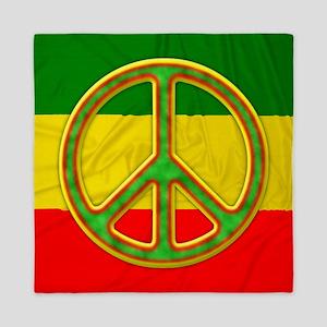 Rasta Peace Symbol Queen Duvet