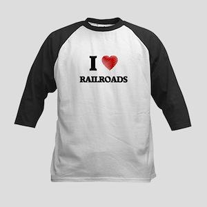 I Love Railroads Baseball Jersey