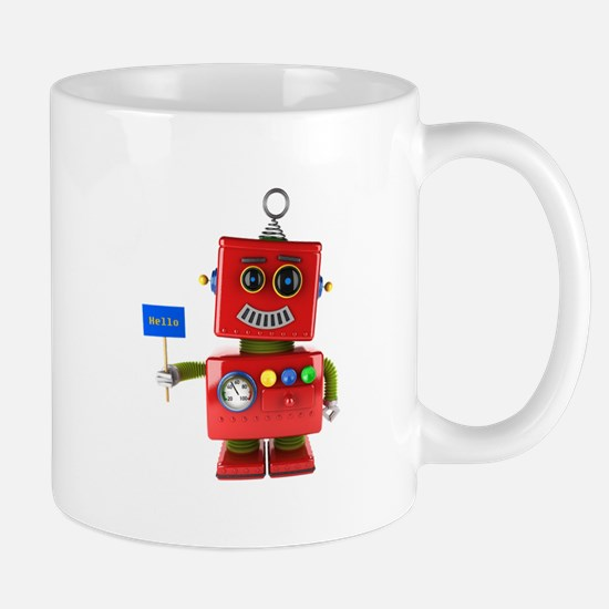 Red toy robot with hello sign Mugs