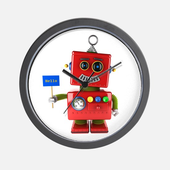 Red toy robot with hello sign Wall Clock