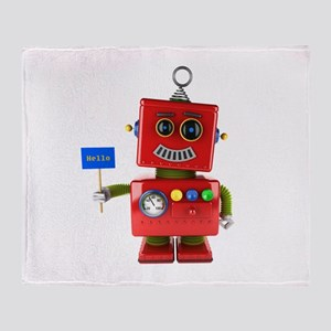 Red toy robot with hello sign Throw Blanket