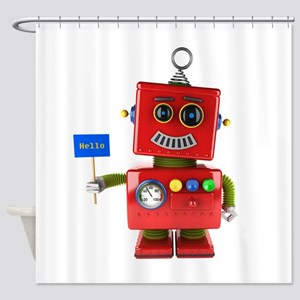 Red toy robot with hello sign Shower Curtain