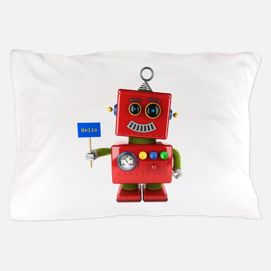 Red toy robot with hello sign Pillow Case