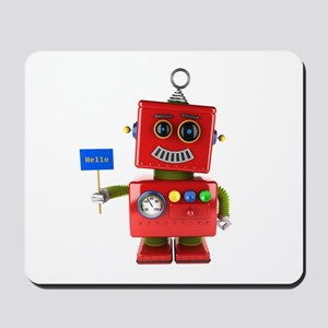 Red toy robot with hello sign Mousepad