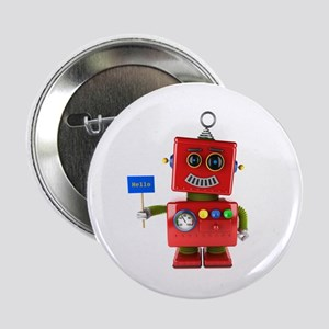 """Red toy robot with hello sign 2.25"""" Button"""