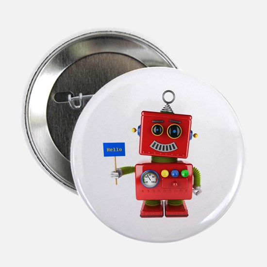 "Red toy robot with hello sign 2.25"" Button"