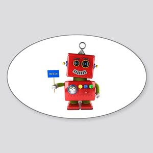 Red toy robot with hello sign Sticker