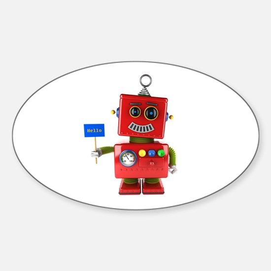 Red toy robot with hello sign Decal