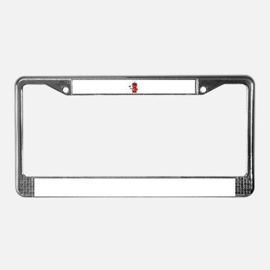 Red toy robot with hello sign License Plate Frame