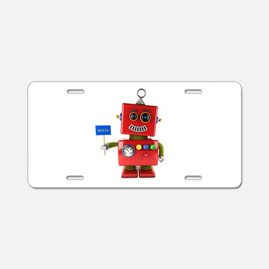 Red toy robot with hello si Aluminum License Plate