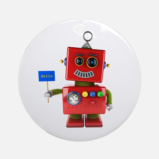 Red toy robot with hello sign Round Ornament