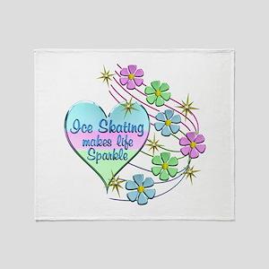 Ice Skating Sparkles Throw Blanket