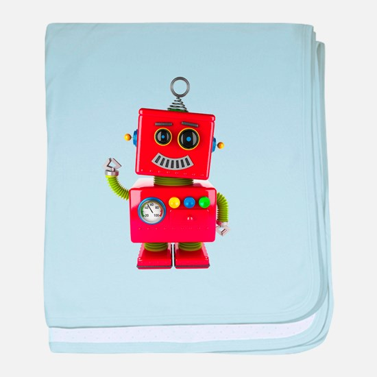 Red toy robot waving hello baby blanket