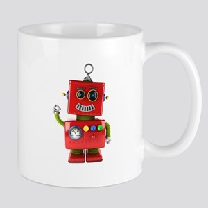 Red toy robot waving hello Mugs