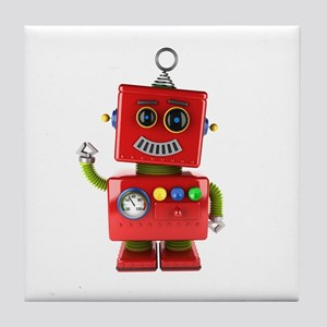 Red toy robot waving hello Tile Coaster