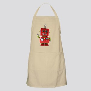 Red toy robot waving hello Apron