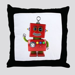 Red toy robot waving hello Throw Pillow