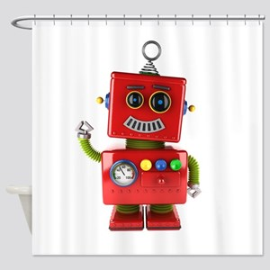 Red toy robot waving hello Shower Curtain