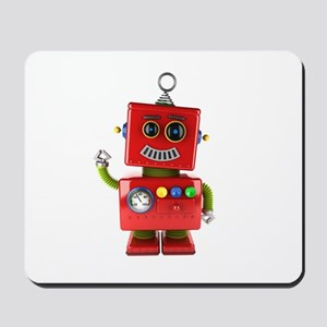 Red toy robot waving hello Mousepad